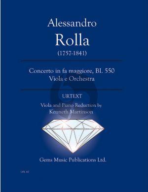 Rolla Concerto in fa maggiore BI. 550 Viola e Orchestra Viola - Piano (Prepared and Edited by Kenneth Martinson) (Urtext)