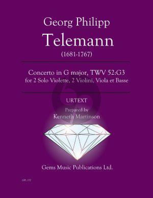 Telemann Concerto in G major TWV 52:G3 for 2 Solo Violette - 2 Violini - Viola et Basse Score - Parts (Prepared and Edited by Kenneth Martinson) (Urtext)
