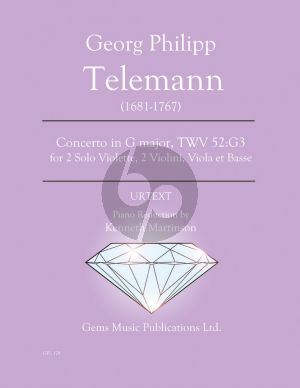 Telemann Concerto in G major TWV 52:G3 for 2 Violas - Piano (Prepared and Edited by Kenneth Martinson) (Urtext)