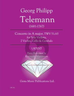 Telemann Concerto in A major TWV 51:A5 for Solo Viola - Piano (Prepared and Edited by Kenneth Martinson) (Urtext)