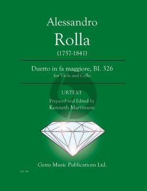 Rolla Duetto in fa maggiore BI. 326 for Viola - Cello (Prepared and Edited by Kenneth Martinson) (Urtext)