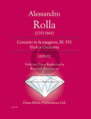 Rolla Concerto in fa maggiore BI. 551 Viola - Piano (Prepared and Edited by Kenneth Martinson) (Urtext)