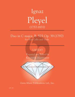 Pleyel Duo in C major B. 525 Op. 39 (1792) Viola - Cello (Prepared and Edited by Kenneth Martinson) (Urtext)