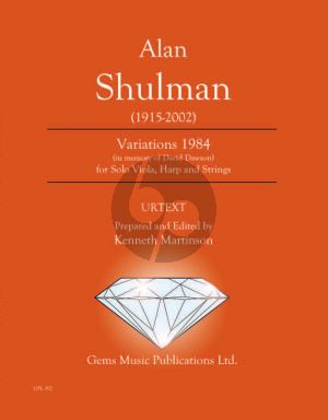 Shulman Variations 1984 for Solo Viola - Harp and Strings Score - Parts (Prepared and Edited by Kenneth Martinson) (in memory of David Dawson)