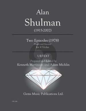 Shulman 2 Episodes Night and Ancora for Viola Quartet (1978) Score - Parts (Prepared and Edited by Kenneth Martinson) (Urtext)