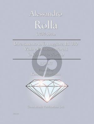 Rolla Divertimento in fa maggiore BI. 330 Viola e Orchestra d'archi Score - Parts (Prepared and Edited by Kenneth Martinson) (Urtext)