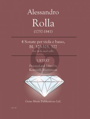 Rolla 4 Sonatas for Viola e Basso (Cello accompaniment) BI. 323 - 325 / 327 (Prepared and Edited by Kenneth Martinson) (Urtext)