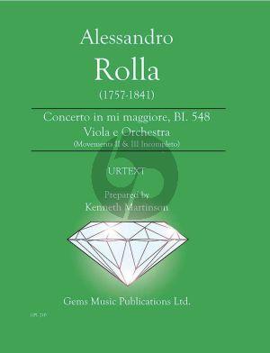 Rolla Concerto in mi maggiore BI. 548 Viola e Orchestra Score - Parts (movements II & III incompleto) (Prepared by Kenneth Martinson)