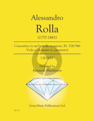 Rolla Concertino in mi bemolle maggiore BI. 328 / 546 Viola e Orchestra Score - Parts (Prepared and Edited by Kenneth Martinson) (Urtext)