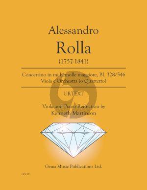Rolla Concertino in mi bemolle maggiore BI. 328 / 546 Viola - Piano (Prepared and Edited by Kenneth Martinson) (Urtext)