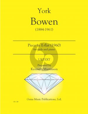 Bowen Piece in E-flat for viola - piano (1960) (Prepared and Edited by Kenneth Martinson) (Urtext)