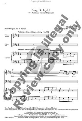Purcell Sing Be Jouyful (2-Part Mixed Voices) (arr. Hal H. Hopson)
