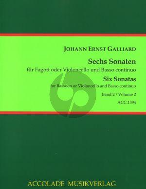 Galliard 6 Sonaten Vol.2 (Fagott oder Violoncello und Basso Continuo) (Continuoaussetzung: Antonia Emde)