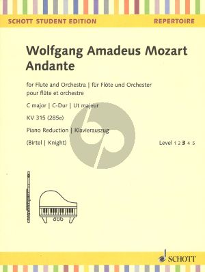 Mozart Andante C-Major for Flute and Piano KV 315 (285e) (Piano reduction with solo part)