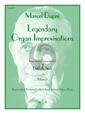Dupre Legendary Organ Improvisations Volume 3 (David A. Stech)