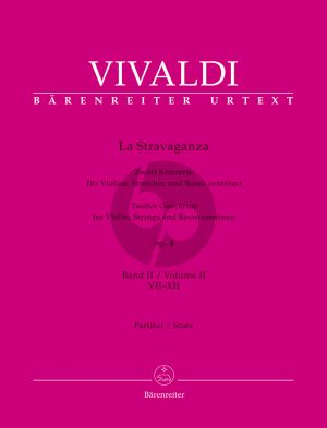 Vivaldi La Stravaganza Opus 4 Vol. 2 No. 7 - 12 Violin-Strings-Bc (Full Score) (Bettina Schwemer)