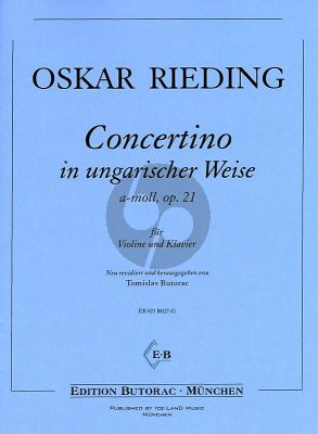 Rieding Concertino in ungarischer Weise a-Moll Opus 21 Violine und Klavier (Tmislav Butorac) (1 - 3 Lage)