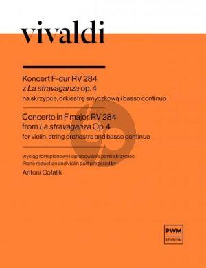 """Vivaldi Concerto F-major RV 284 from """"La stravaganza"""" Op. 4 Violin-Strings-Bc (piano reduction)"""