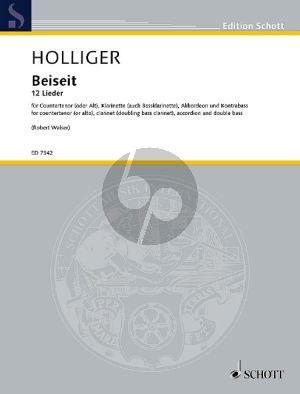 Holliger Beiseit Countertenor (oder Alt)-Klarinette-Akkordeon und Kontrabass (Partitur)