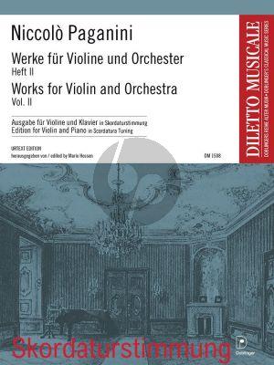 Paganini Werke für Violine und Orchester Heft 2 (Violine (mit Skordaturstimmung) und Klavier) (Mario Hossen)