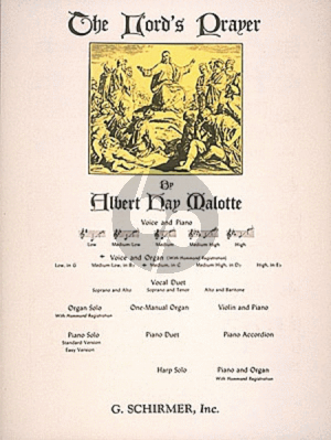 Malotte The Lord's Prayer Medium Voice (in C) with Organ