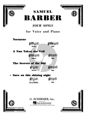 Barber Sure on this Shining Night Medium-Low Voice and Piano