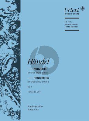 Handel Konzerte Op. 4 HWV 289-294 Orgel und Orchester (Studienpartitur) (Ton Koopman)