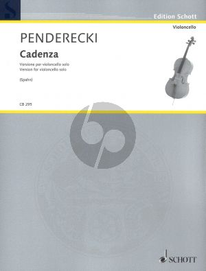 Penderecki Cadenza for Cello Solo (Edited by Jakob Spahn)