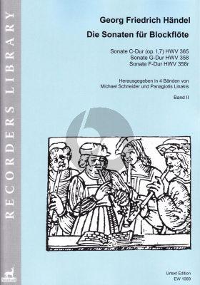 Handel Sonaten Band 2 für Blockflöte und Bc (HWV 365 - 358 - 358r) (Michael Schneider and Panagiotis Linakis)