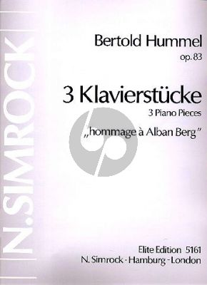 Hummel 3 Klavierstucke Op. 83 (Hommage à Alban Berg)