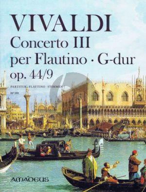 Vivaldi Concerto III RV 444 G-dur Op. 44/9 Flautino-Streicher=Bc Partitur (Winfried Michel) (Erstausgabe der Original-Fassung)