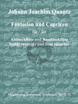 Quantz Fantasien und Capricen für Alt- und Bassblockflöte