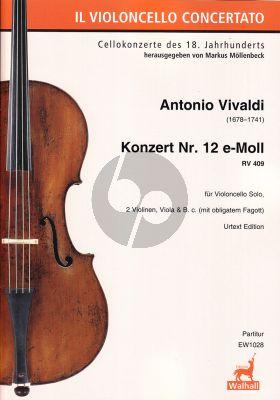 Vivaldi Konzert e-moll RV 409 Violoncello-Streicher-Bc (mit Fagott obl.) (Partitur) (herausgegeben von Markus Möllenbeck)