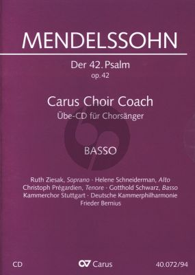 "Mendelssohn Psalm 42 Op.42 ""Wie der Hirsch schreit nach frischem Wasser"" Bass Chorstimme CD (Carus Choir Coach)"