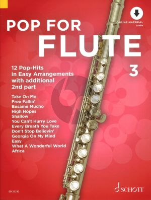 Pop For Flute (12 Pop-Hits in Easy Arrangements) Vol.3 (1 - 2 Flutes) (Bk-Online Download) (edited by Uwe Bye)