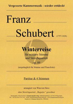 Schubert Winterreise Op.89 D 911 Mittelstimme 2 Violinen, Viola und Violoncello (Partitur und Stimmen) (arrangiert v0n Wim ten Have)