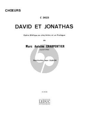 Charpentier David et Jonathas Partition Choeurs et Piano