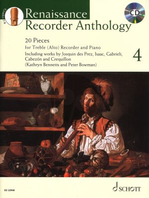 Renaissance Recorder Anthology Vol.4 20 Works for Treble (Alto) Recorder and Piano (Bk-Cd) (edited by Peter Bowman and Kathryn Bennetts)