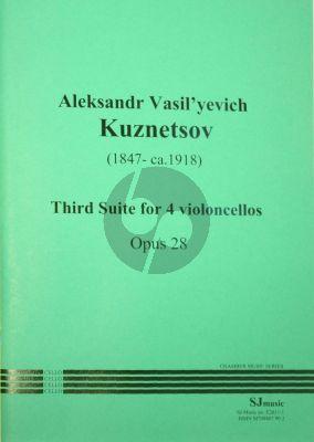 Kutznetsov Suite No. 3 Op. 28 4 Violoncellos (Score/Parts)