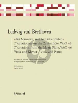 """Beethoven """"Bei Männern, welche Liebe fühlen"""" 7 Variationen aus der Zauberflöte, WoO 46 Viola und Klavier (2 Spielpartituren) (arr. Kim Kashkashian)"""