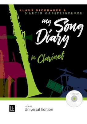 My Song Diary for Clarinet Bk-Cd (Twelve easy to intermediate songs) (The piano accompaniment is available as either a free printout or as a printed edition UE38046)