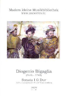 Bigaglia Sonate No.1 G-Dur 2 Traversfloten und Bc (Herausgegeben von Wolfgang Mader) (Partitur und Stimmen)