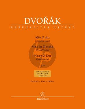 Dvorak Messe D-dur Op.86 Soli-Chor-Orgel (Orgelfassung) (Partitur) (herausgegeben von Haig Utidjian)