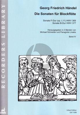 Handel Sonaten Band 4 für Blockflöte und Bc (HWV 369 - 377) (Michael Schneider and Panagiotis Linakis)