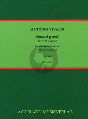 Vivaldi Konzert RV 531 g-moll für 4 Fagotte (Part./Stimmen) (arr. Jean-Christophe Dassonville)