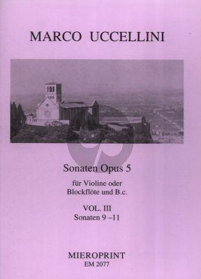 Uccellini Sonaten Op.5 Vol.3 No.9-11 Violine[Blockflote] und Bc (Generalbassaussetzung Winfried Michel)