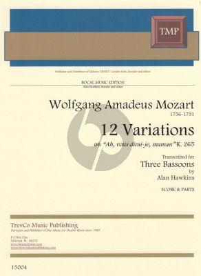 """12 Variationen """"Ah vous dirai-je, Maman"""" für 3 Fagotte (Partitur & Stimmen)"""