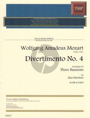 Mozart Divertimento No.4 G-Dur fur 3 Fagotte (Partitur und Stimmen) (Arr. Alan Hawkins)