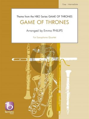Djawadi Game of Thrones for 4 Saxophones (AATB or SATB) (Score/Parts) (arr. Emma Philips)