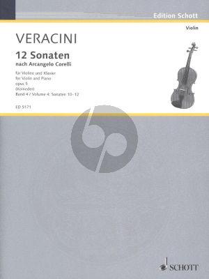 Veracini 12 Sonaten nach Op. 5 von Corelli Vol. 4 (No. 10-12) fur Violine-Bc (Herausgegeben von Walter Kolneder)